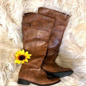 Shoes - Brown Knee High Riding Boots